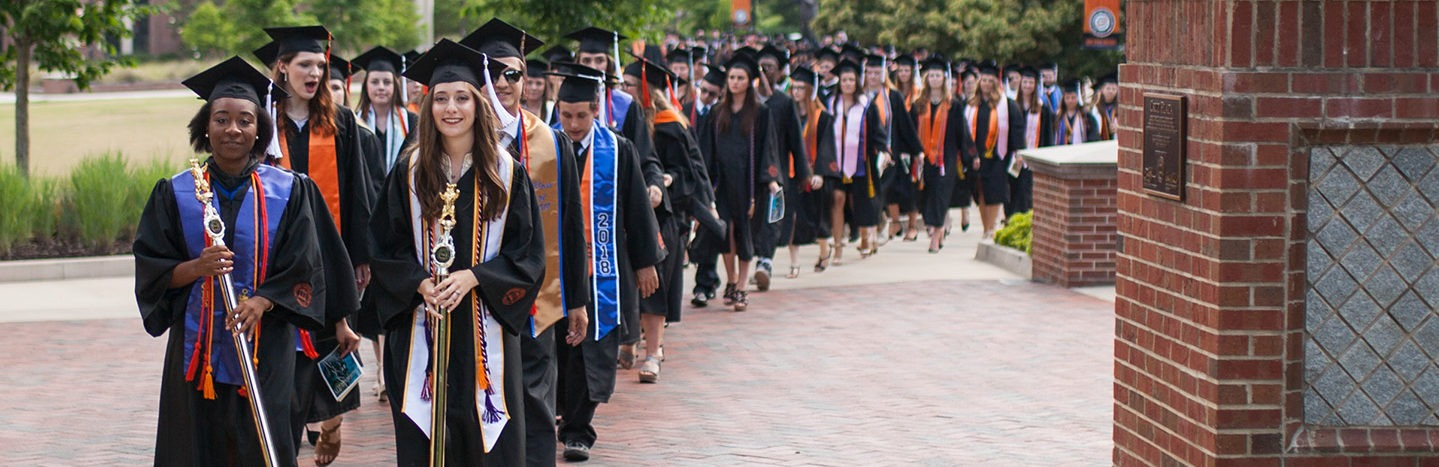 Mercer graduates process through the Macon campus in spring 2018.