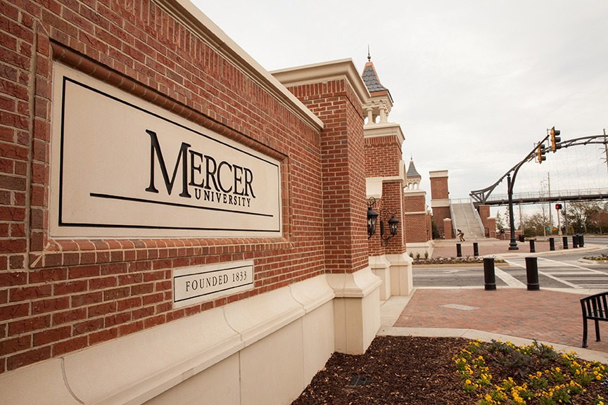 The entrance to Mercer's campus in Macon.