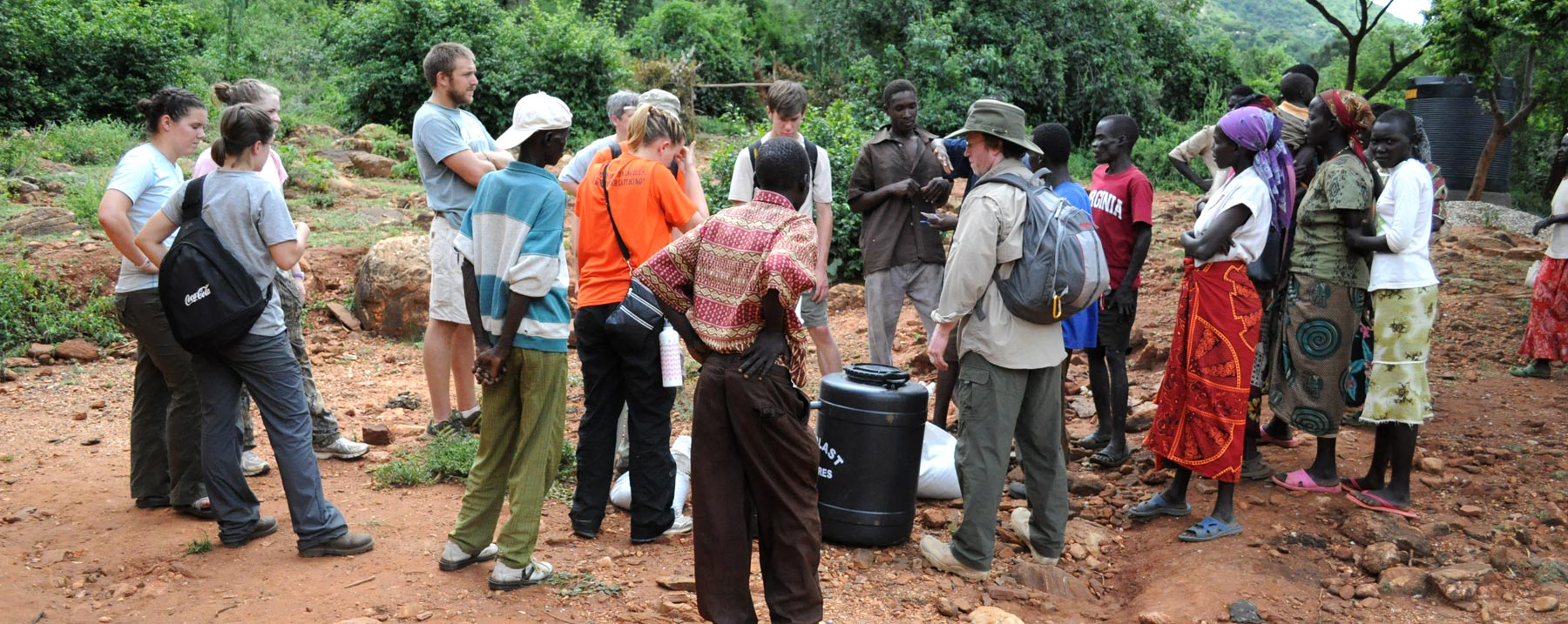 Mercer On Mission team members work on a system to provide clean drinking water from the Wei Wei River to the center of the Kenyan community.