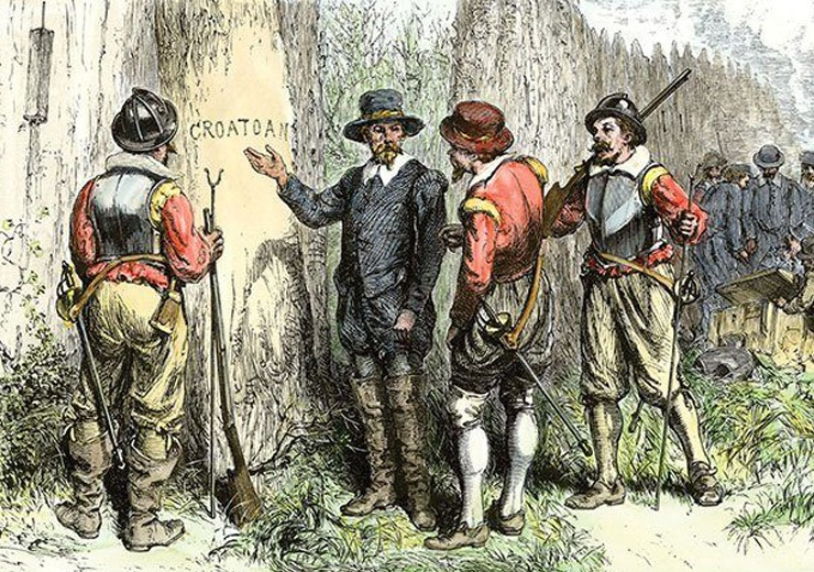 A drawing depicting the lost colony of Roanoke.