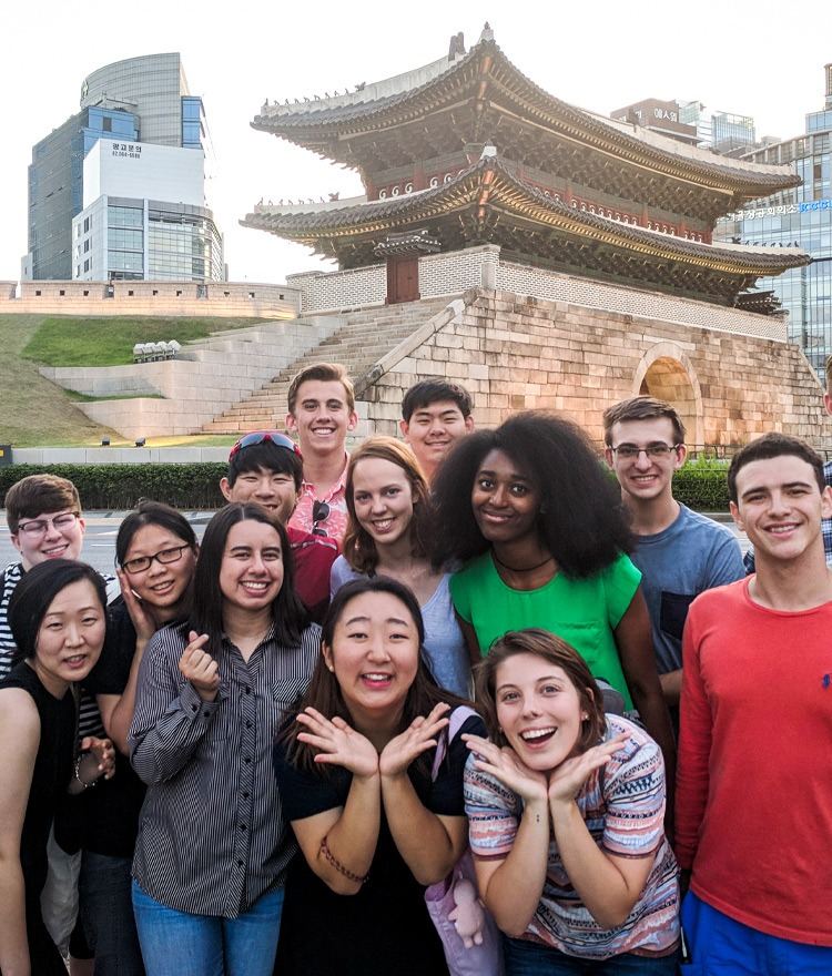 Mercer students pose for a group photo during the 2018 Mercer On Mission trip to South Korea.
