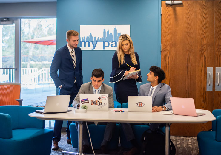 Business students work in the Mercer Innovation Center