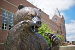 The Mercer bear statue in front of the University Center in Macon.