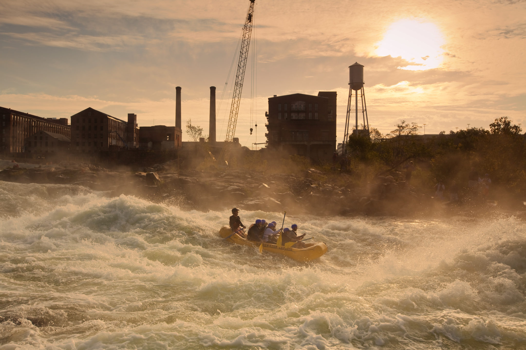 People raft down the Chattahoochee River in Columbus, GA.