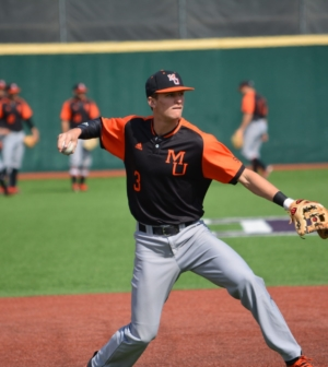 Mercer baseball player RJ Yeager throws a pitch.