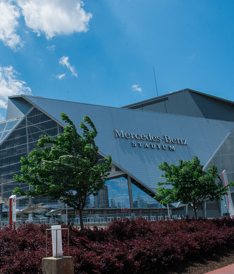 Exterior shot of Mercedes-Benz Stadium