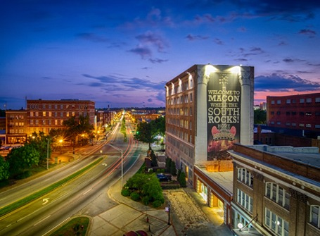 A view of downtown Macon as the sun sets.