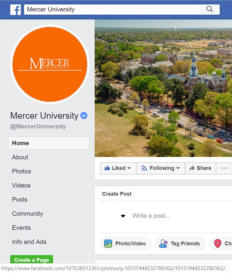 Mercer University Facebook Screenshot