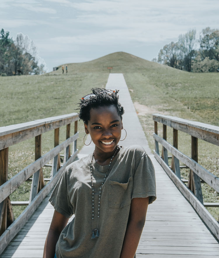Student exploring the Ocmulgee Mounds National Historic Park