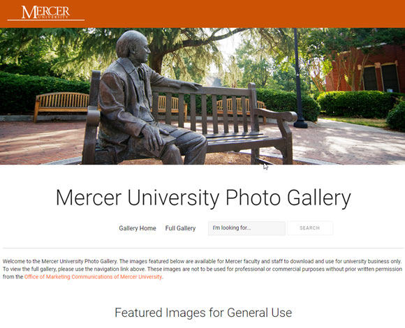 The home page of the Mercer Photo Gallery
