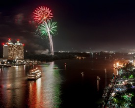 Fireworks over the river in Savannah