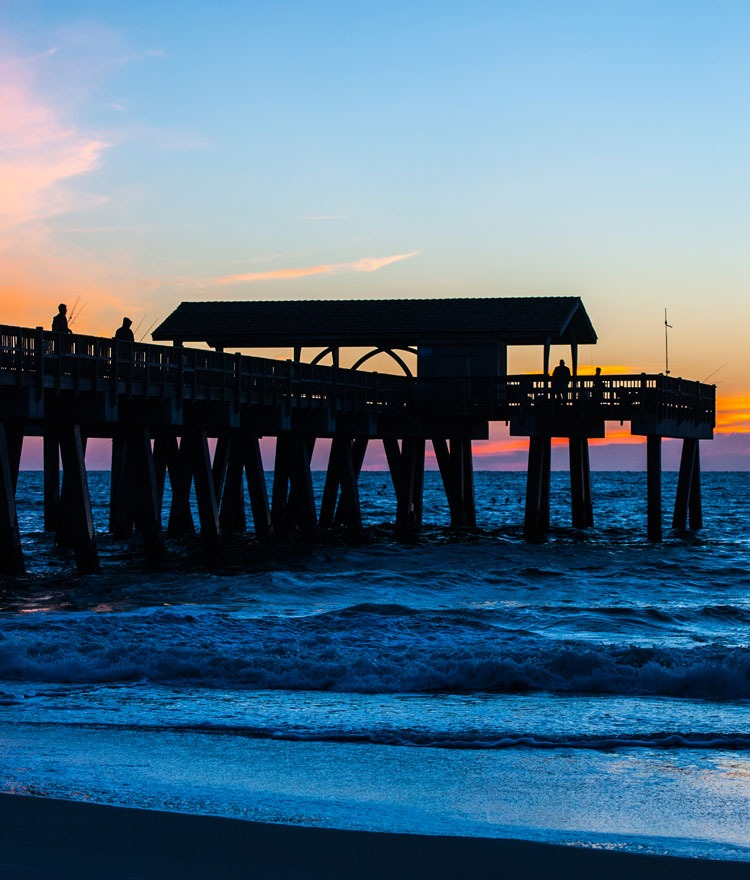 Tybee Island dock at sunset