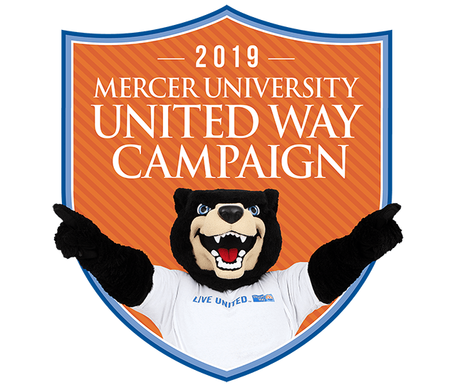 2019 Mercer University United Way Campaign with Toby pointing to the sky
