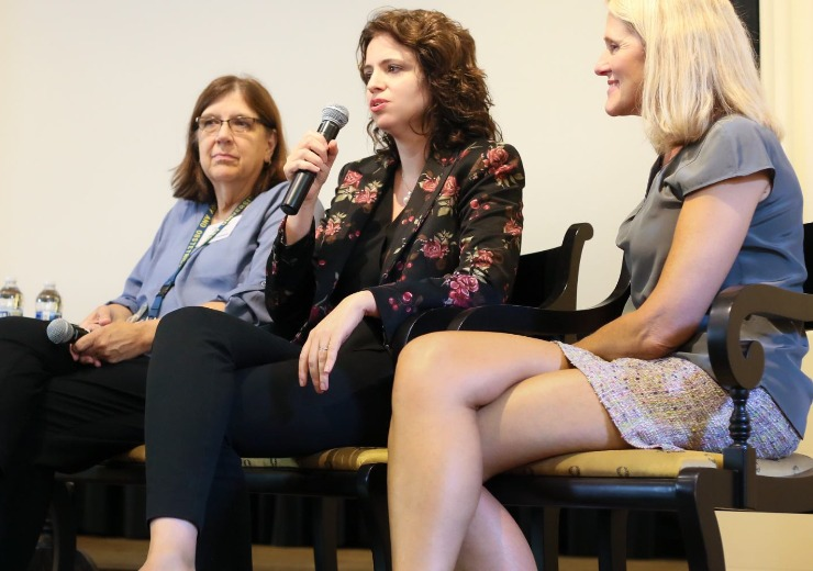 Dr. Jennifer Barkin, center, speaks on a Women in Medtech @SEMDA panel about the maternal health crisis. She's pictured with Dr. Jane Ellis of Emory University School of Medicine, left, and Dr. Brenda Baker of the Nell Hodgson Woodruff School of Nursing at Emory. (Photo courtesy @f22studio)