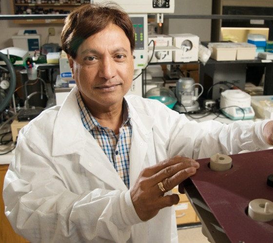 Dr. Martin D'Souza in his lab