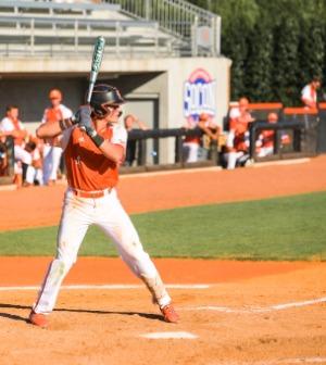 A baseball player at bat