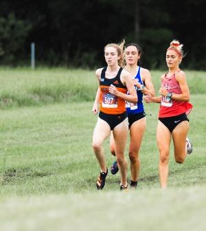 Cross country runners run in a field